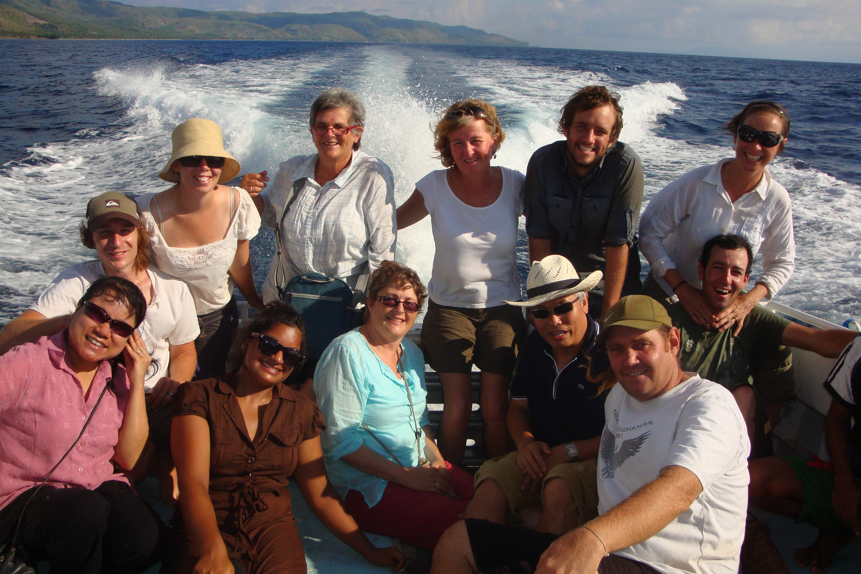 Group of Encounter participants on a boat