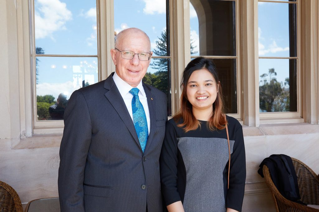 ACU student Muriel with Governor of NSW