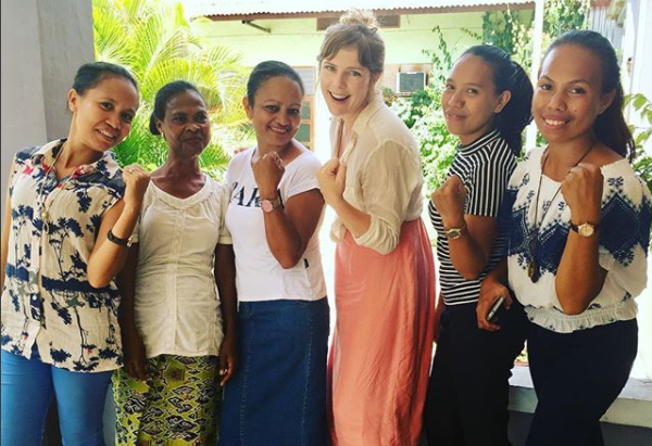 Palms Australia volunteer Lyndal Judd with colleagues at FSCJ in Maliana, Timor-Leste